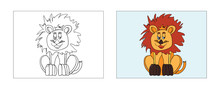 Baby Lion Coloring Book Design...