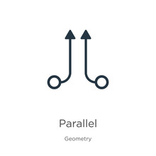 Parallel Icon. Thin Linear Parallel Outline Icon Isolated On White Background From Geometry Collection. Line Vector Parallel Sign, Symbol For Web And Mobile