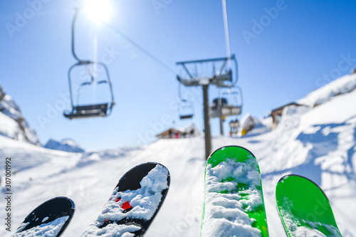 Fototapeta Ski lift in the dolomity mountains