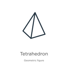Tetrahedron Icon. Thin Linear Tetrahedron Outline Icon Isolated On White Background From Geometry Collection. Line Vector Tetrahedron Sign, Symbol For Web And Mobile