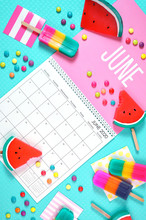 On-trend 2020 Calendar Page For The Month Of June Modern Flat Lay With Seasonal Food, Candy And Colorful Decorations In Popular Pastel Colors. Vertical. One Of A Series For 12 Months Of The Year.