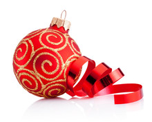 Christmas Red Decoration Bauble And Curling Paper Isolated On White Background