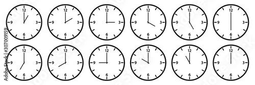 Obraz na płótnie Clock set. Different times. Outline design. Vector illustration