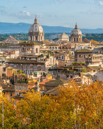 Rome skyline during autumn season, as seen from Castel Sant'Angelo, with the domes of the churches of Sant'Andrea della Valle and San Carlo ai Catinari Canvas Print