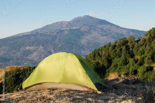 Vászonkép  Green Tent In Front Of Etna Mount, Sicily