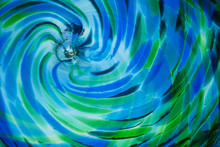Beautiful Blue And Green Stained Glass, Green And Blue Swirled Glass Abstract Background
