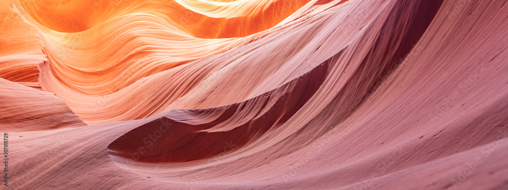 Fototapeta Canyon Antelope abstract background. Famous slot Canyon near Pager, Arizona. Beautiful texture and colors.
