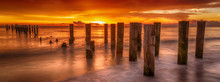 Panoramic Old Pier Naples, Florida. Sunset At Beautiful Beach. Travel Concept Scenic Coastal Dream.