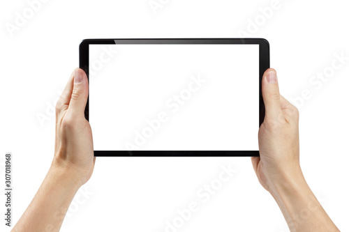 Fotografía  Hands holding black tablet, isolated on white background
