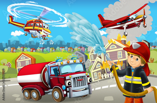 Fototapety, obrazy: cartoon stage with different machines for firefighting colorful and cheerful scene with fireman - illustration for children