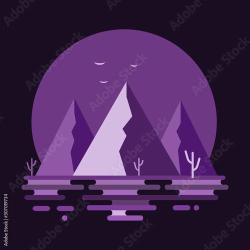 Photo sur Aluminium Prune Mountain scape design. Modern abstract purple desert mountains