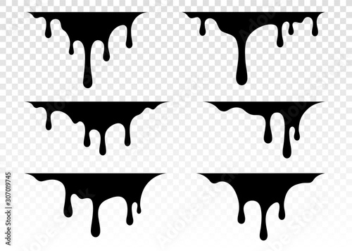 Fototapety, obrazy: Paint dripping. Dripping liquid. Paint flows. Current paint, stains. Current drops. Current inks. Vector illustration. Color easy to edit. Transparent background.