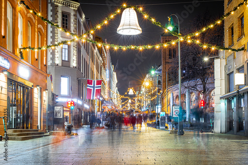 View of Christmas Oslo in the night, Norway