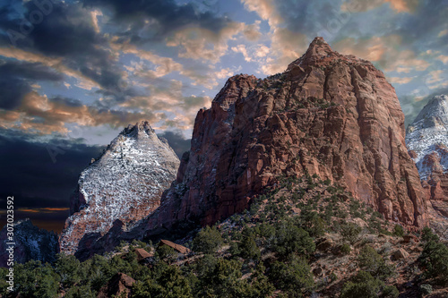 Valokuvatapetti Mountains and cliffs and rock formations covered in snow along the scenic floor drive in Zion National Park, Springdale, Utah, USA
