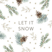 Christmas Nature Design, Text Let It Snow, White Background. Green Pine, Fir Twigs, Cones, Stars. Vector Illustration. Greeting Card, Poster Template. Xmas Holidays. Winter Forest
