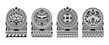 Set Of Tattoo Sketch Maori Style For Shoulder With Sun Symbols