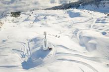 Aerial View Of A Ski Lift In The Mountains, Gastein, Salzburg, Austria