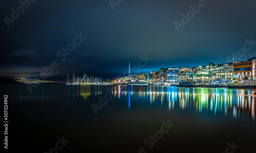 View of Christmas Oslo in the night, Norway Wallpaper Mural