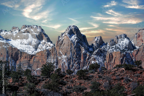 Mountains and cliffs and rock formations covered in snow along the scenic floor drive in Zion National Park, Springdale, Utah, USA Canvas-taulu