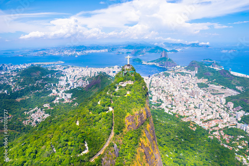 Beautiful aerial view of Rio de Janeiro city with Corcovado and Sugarloaf Mounta Wallpaper Mural