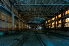 Old Broken Empty Abandoned Industrial Building Interior At Night