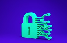 Green Cyber Security Icon Isolated On Blue Background. Closed Padlock On Digital Circuit Board. Safety Concept. Digital Data Protection. Minimalism Concept. 3d Illustration 3D Render