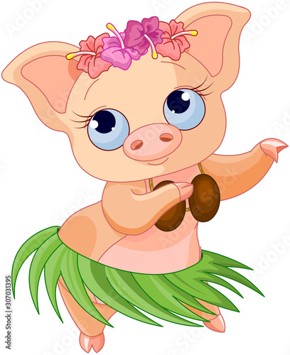 Canvas Prints Fairytale World Hula Dancing Pig
