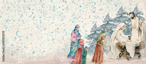 Obraz Nativity scene with three wise men .Merry Christmas watercolor background - fototapety do salonu