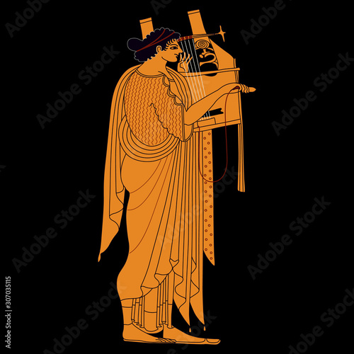 Ancient Greek, god Apollo playing the lyre. Vase painting style. Canvas Print
