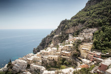 Architecture In The Old Beautiful Italian Coastal Town Of Positano Where All The Building Are Built Onto Going Up The Cliff Face.