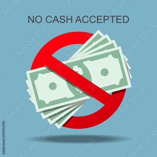 No cash accepted vector illustration. Canvas Print