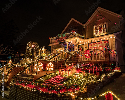 Decorated houses with Christmas Lights