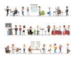 Set of business people working in office character vector design