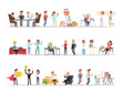 Set of business people working in office character vector design no2