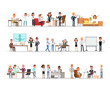 Set of business people working in office character vector design no7