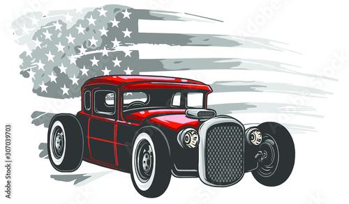 Obraz oldtimer  emblem-muscle-car-silhouette-vector-on-flag-background