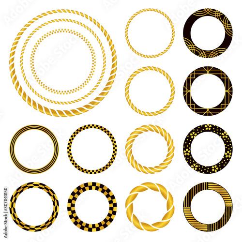 しめ縄、市松、和柄の円形飾り罫(黒と金) #307040150