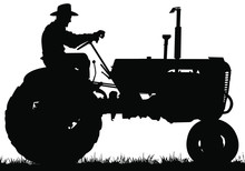 A Vector Silhouette Of An Old Farmer Driving An Old Tractor.