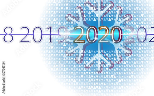 Photo Happy new year background, aureate inscription 2020 with abstract bokeh with snowflake and small christmas trees
