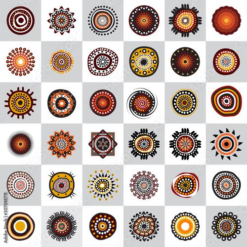Canvas Print Set of aboriginal art dots painting icon design template