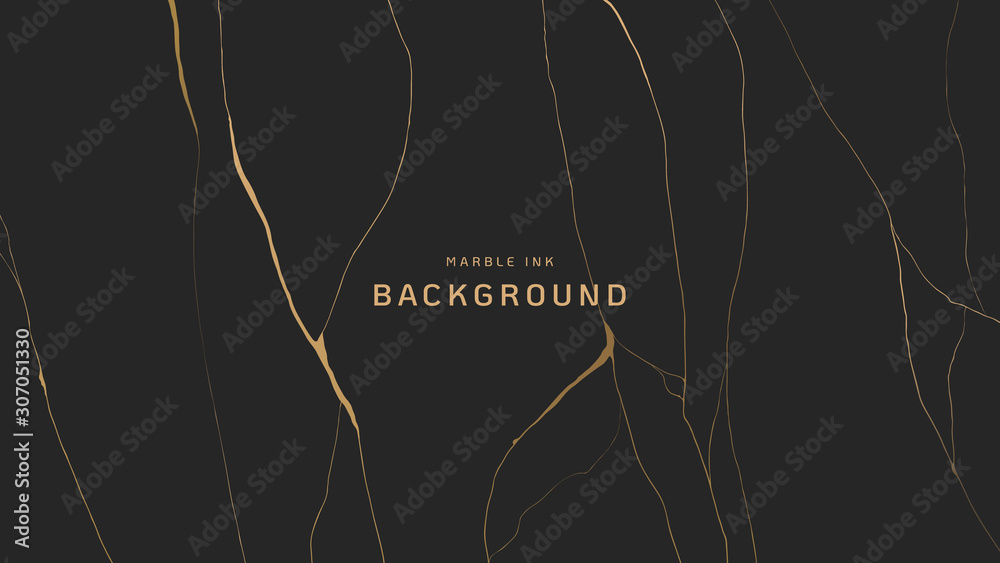 Fototapeta Abstract background, golden marble ink texture on dark grey