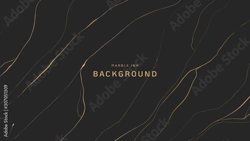 Fotografia  Abstract background, golden marble ink texture on dark grey