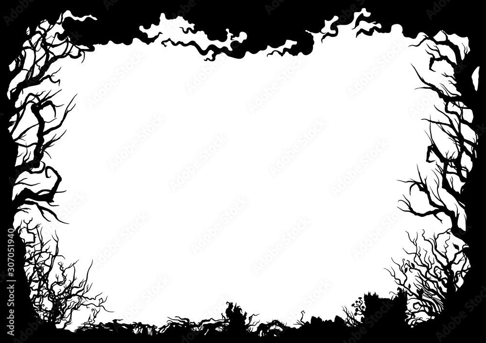 Fototapeta Forest silhouette frame/ Illustration horizontal frame with trees, shrubs, snags