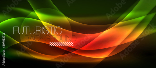 Photo Neon light waves