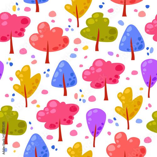 wektorowy-bezszwowy-wzor-z-stubarwnymi-kreskowek-drzewami-punktami-i-tlo-z-jasnymi-elementami-lasu-sliczne-smieszne-drzewa
