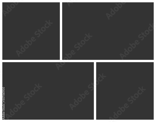 Obraz Empty photo frame collage of four parts. Poster frame mockup. Vector template photo collage. - fototapety do salonu