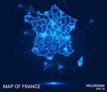 Hologram Of France. Map Of France Of Polygons, Triangles Of Points And Lines. Map Of France Low-poly Composite Structure. Technological Concept.