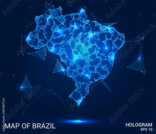 Hologram Of Brazil. Map of Brazil of polygons, triangles of points and lines. Map of Brazil low poly composite structure. Technological concept. Wall mural