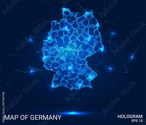 Hologram Of Germany. Map of Germany of polygons, triangles of points and lines. Map of Germany low poly composite structure. Technological concept. Wall mural