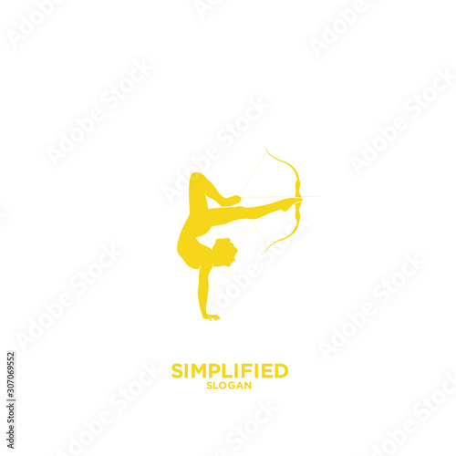Women Archer gold logo silhouette icon design vector illustration Wallpaper Mural